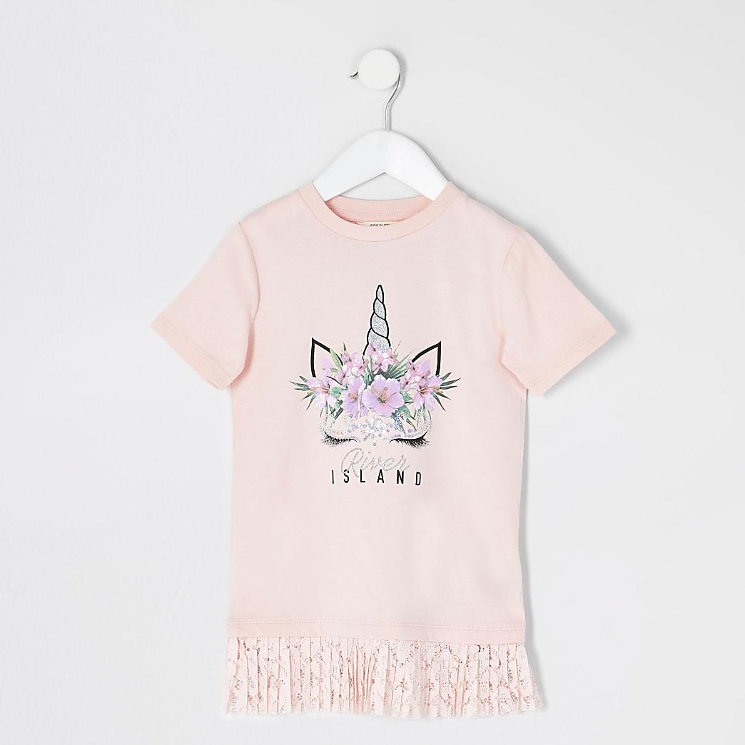 Mini - Roze eenhoorn jurk met kanten zoom voor meisjes