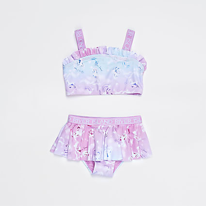 Mini girls pink unicorn print bikini set