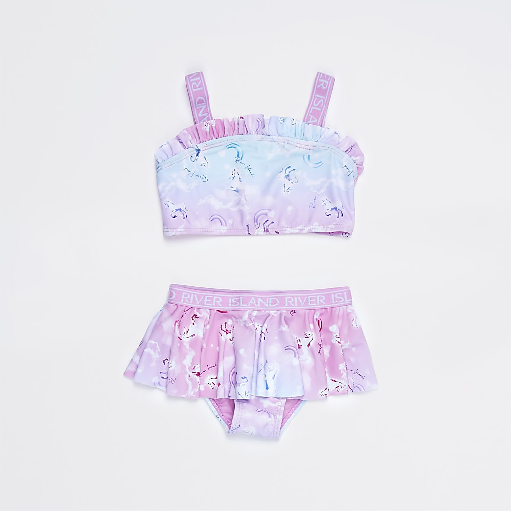Mini girls pink unicorn print bikini set
