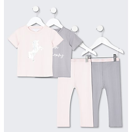 Mini girls pink unicorn pyjama set pack of 2