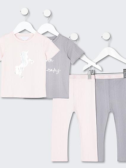 Mini girls pink unicorn pyjama set pack of 2