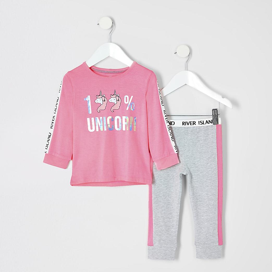 Mini - Roze pyjama met eenhoorn-print voor meisjes