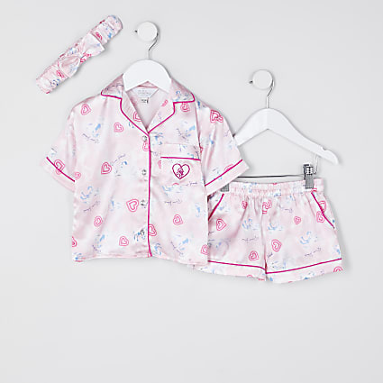 Mini girls pink unicorn satin pyjama set