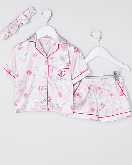 Mini girls pink unicorn satin pyjama set