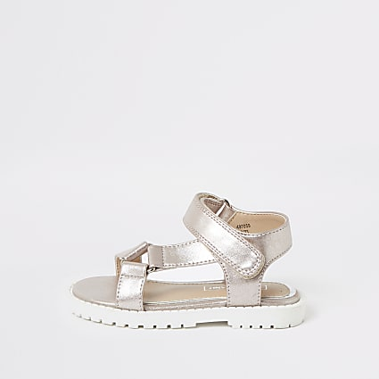 Mini girls pink velcro strap sandals