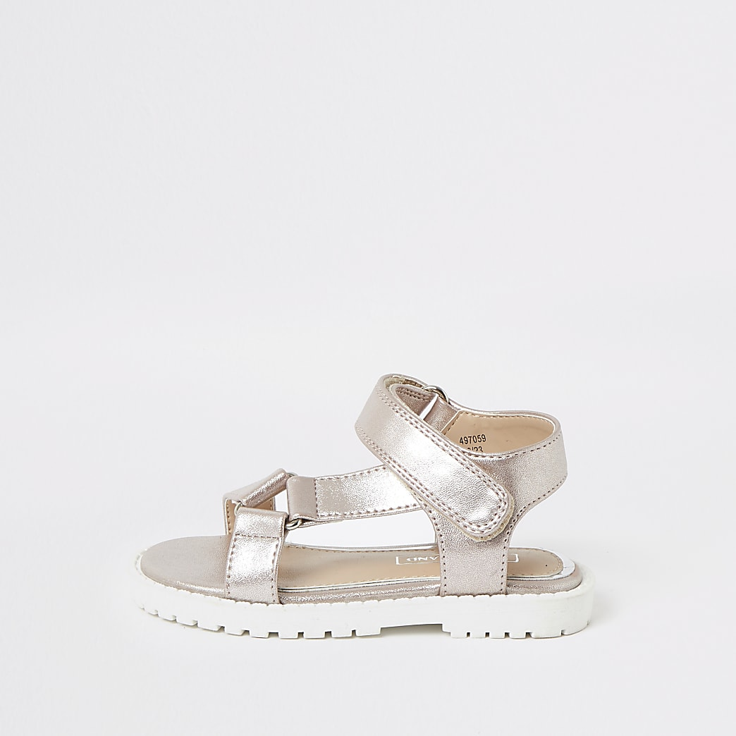 Mini girls pink velcro strap sandals