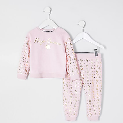 Mini girls pink velour foil pyjama set