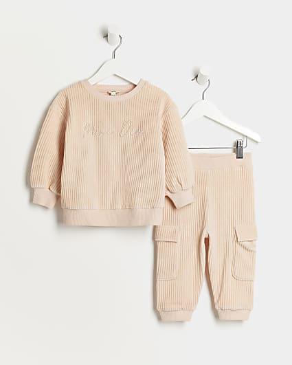 Mini girls pink velour rib jogger outfit