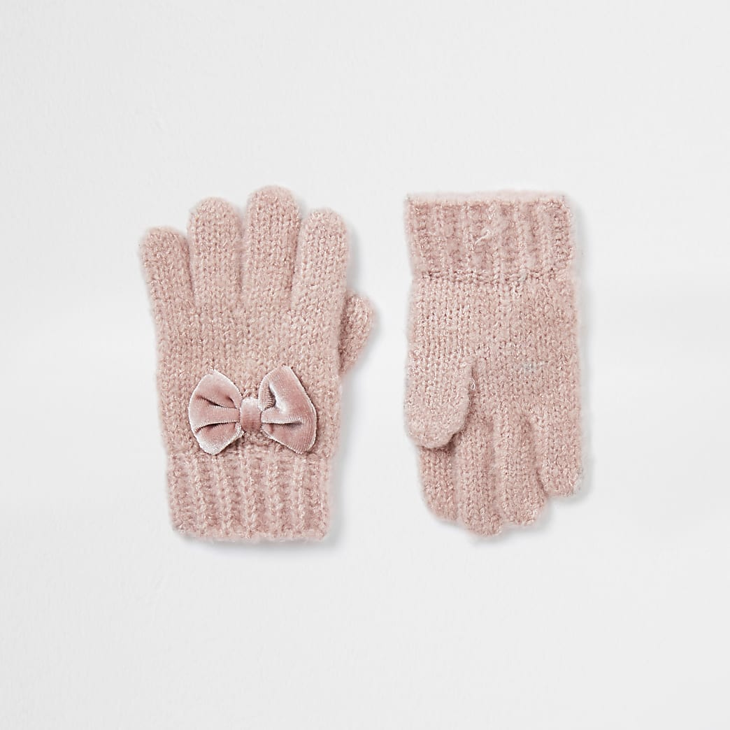 Mini girls pink velvet bow gloves