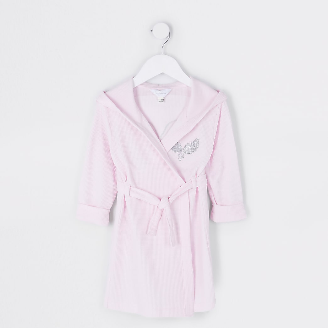 Mini girls pink waffle robe