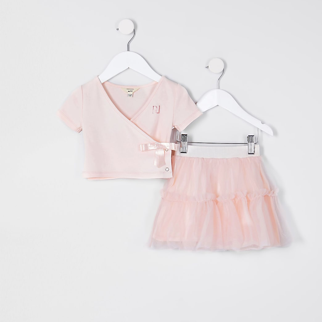 Mini girls pink wrap over tutu outfit