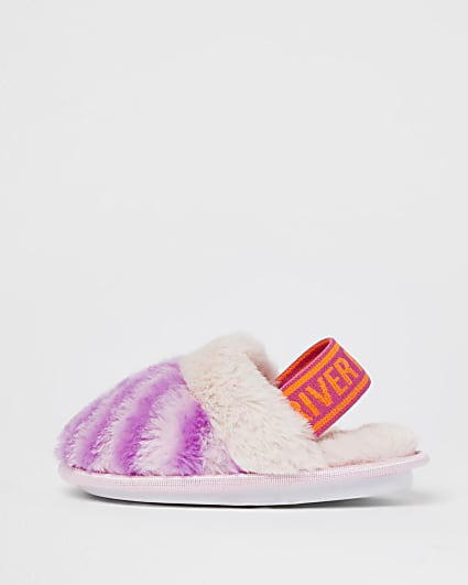 Mini girls pink zebra faux fur slippers
