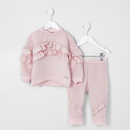 Mini girls pinkk frill scuba outfit