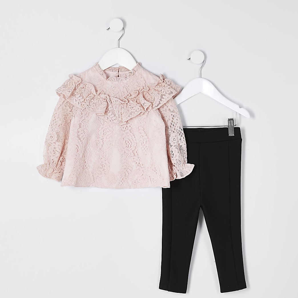 Mini girls prink lace blouse outfit