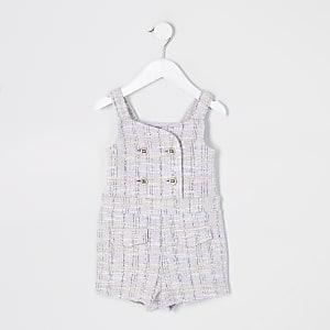 Mini - Paarse overgooier-playsuitvan bouclé stof voor meisjes