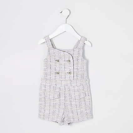 Mini girls purple boucle pinafore playsuit