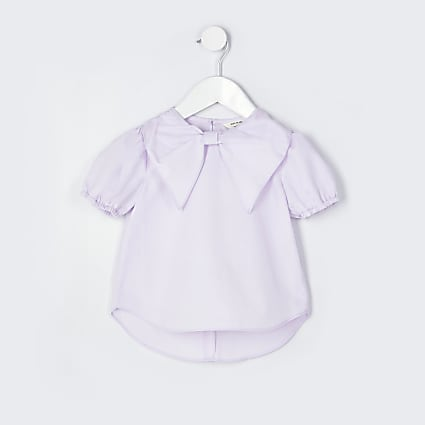 Mini girls purple bow collar blouse