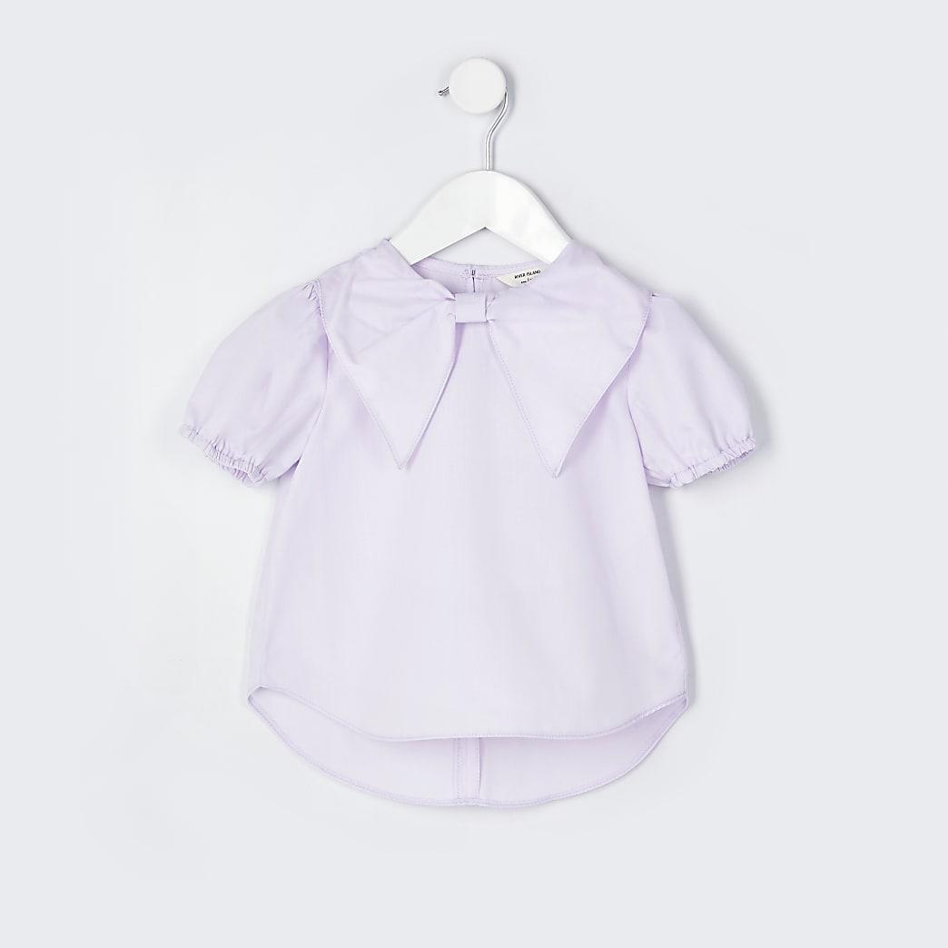 Mini girls purple bow collar blouse