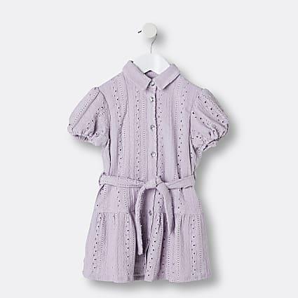 Mini girls purple broderie shirt dress