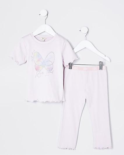 Mini girls purple butterfly pyjamas
