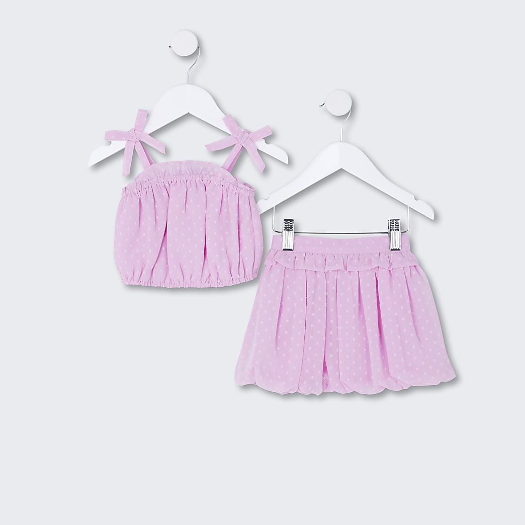 Mini girls purple cami top and skirt outfit