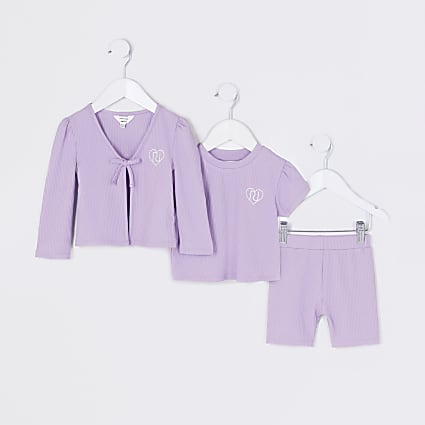 Mini girls purple cardigan 3 piece outfit