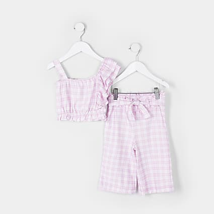 Mini girls purple check flared trouser outfit