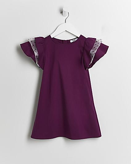 Mini girls purple Chi Chi frill dress