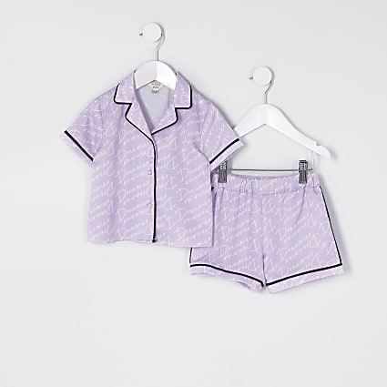 Mini girls purple 'Dreamer' satin pyjama set