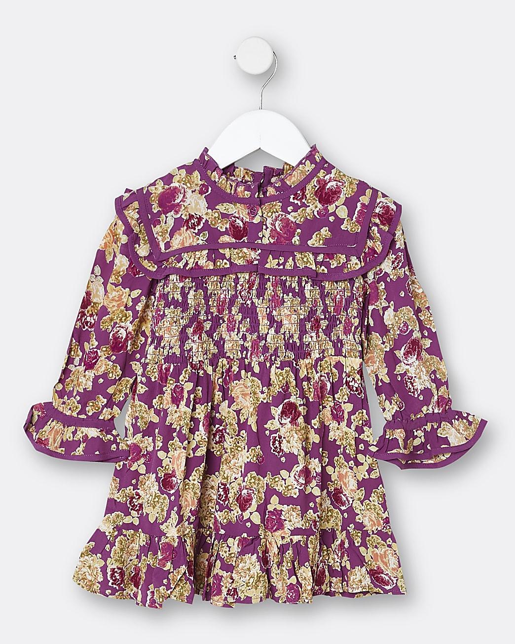 Mini girls purple floral frill shift dress