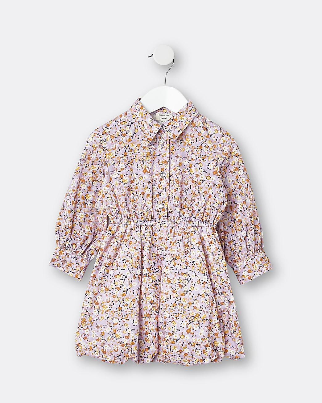 Mini girls purple floral shirt dress