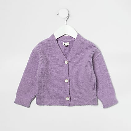 Mini girls purple fluffy cardigan