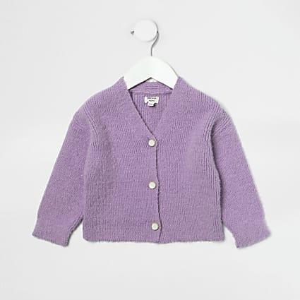 Mini girls purple fluffy cardigan