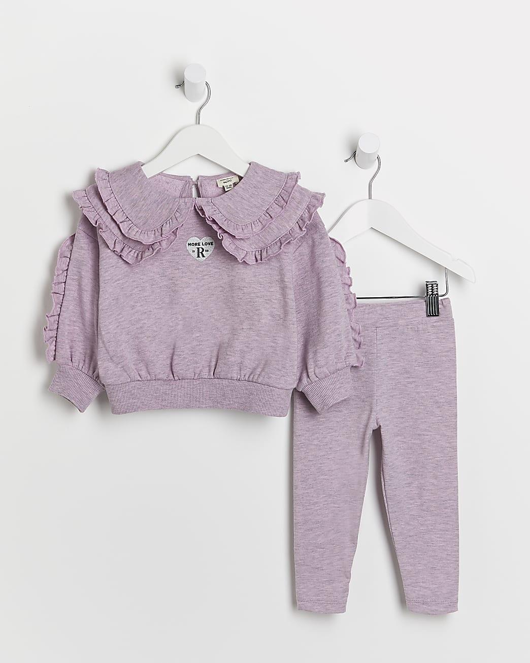Mini girls purple frill collar sweatshirt set