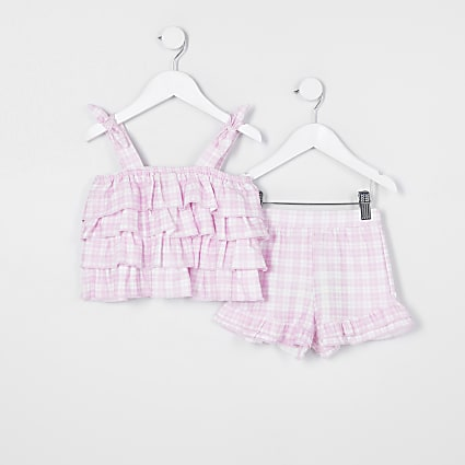 Mini girls purple gingham cami outfit