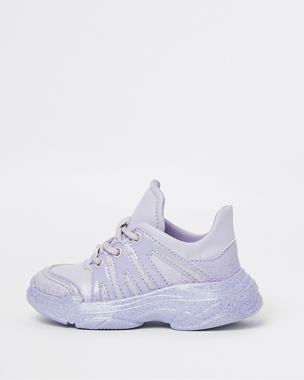 Mini girls purple glitter chunky trainers