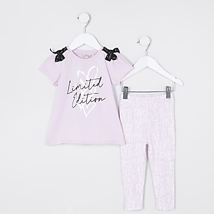 Mini girls purple graffiti bow outfit