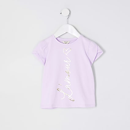 Mini girls purple 'L'amour' print t-shirt