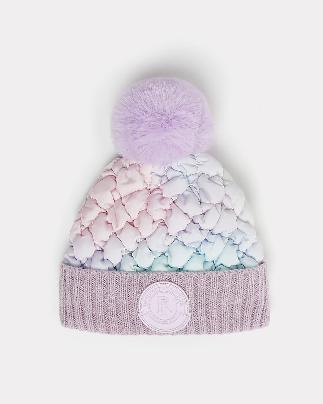 Mini girls purple ombre padded beanie hat