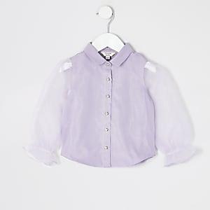 Chemiseà manches longues en organza violette Mini fille