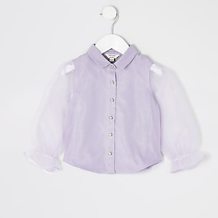 Mini girls purple organza long sleeve shirt