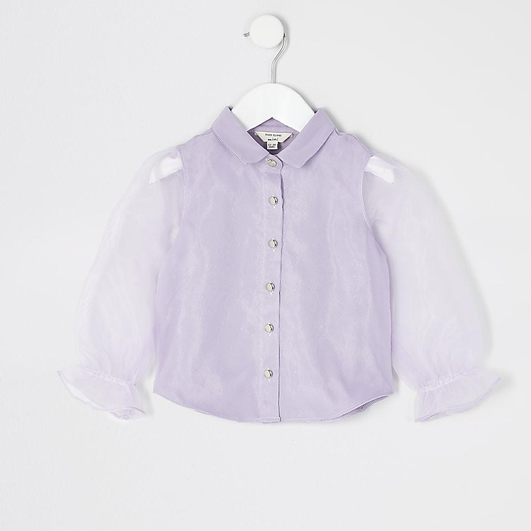 Mini girls purple organza long sleeve shirt