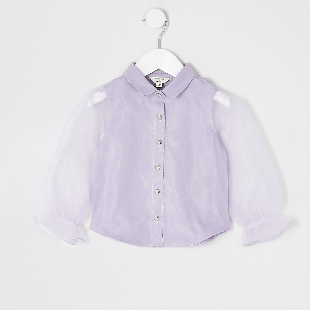 Mini - Paars overhemd met lange organzamouwen voor meisjes