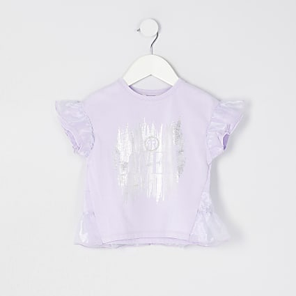 Mini girls purple organza overlay t-shirt