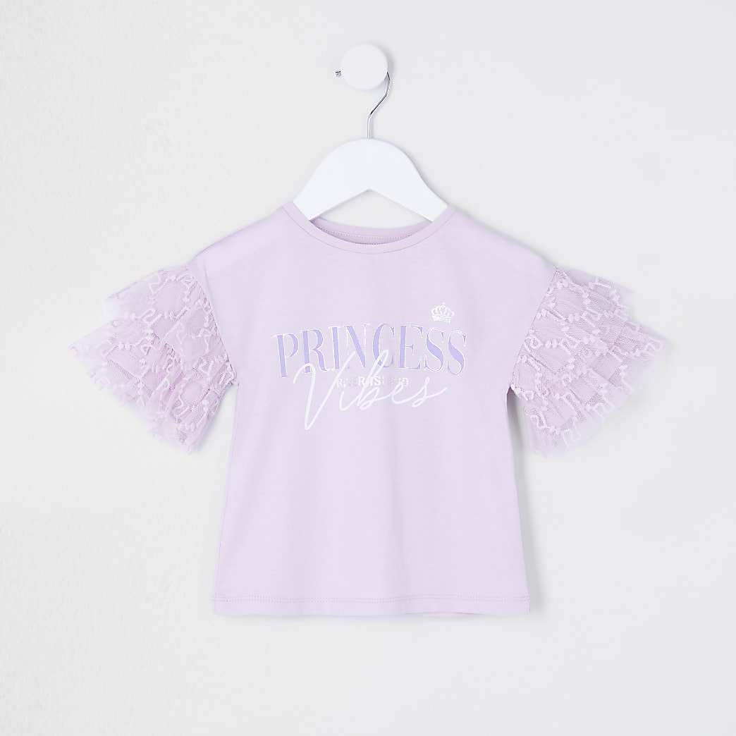 Mini girls purple organza 'Princess' t-shirt