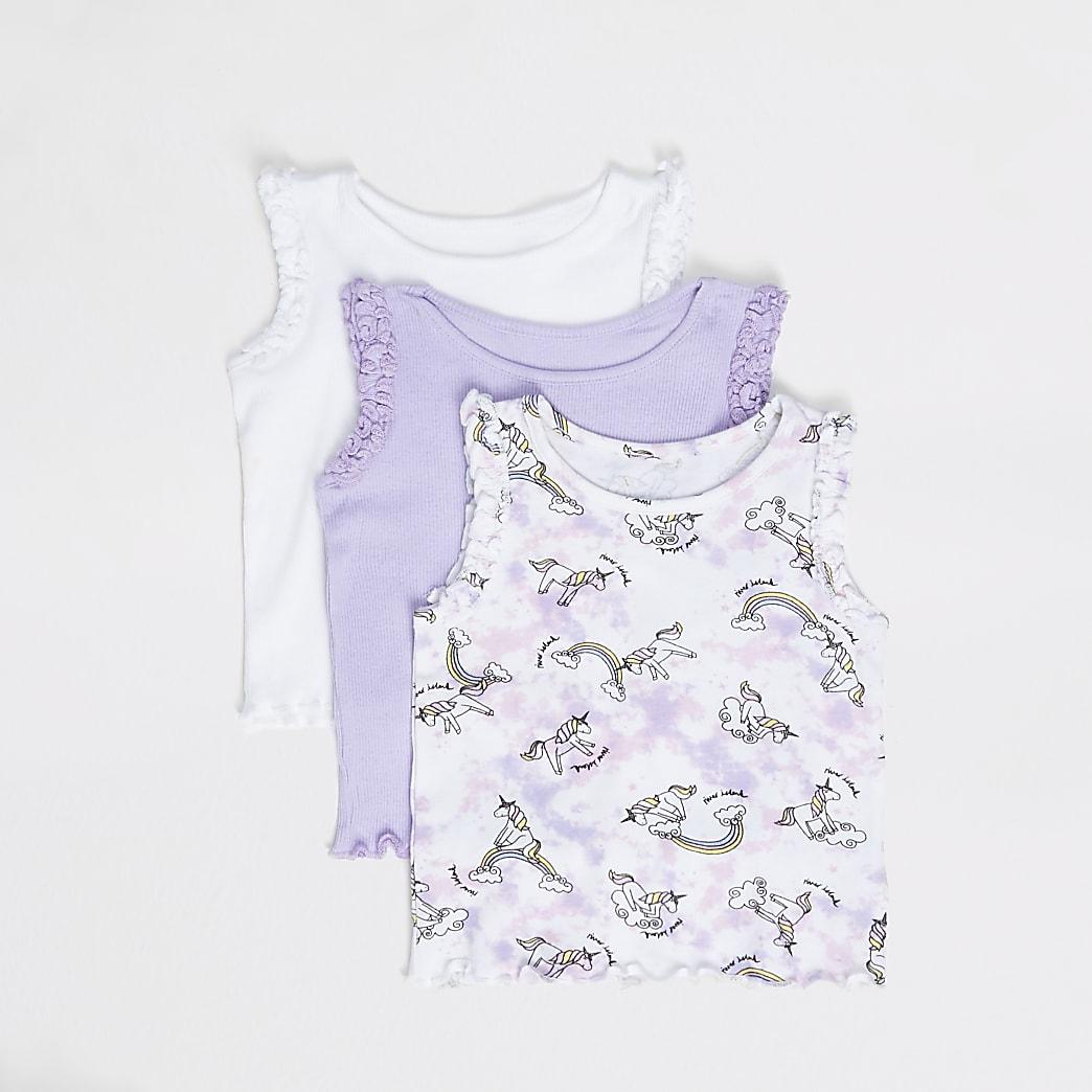 Mini girls purple printed ribbed vests 3 pack