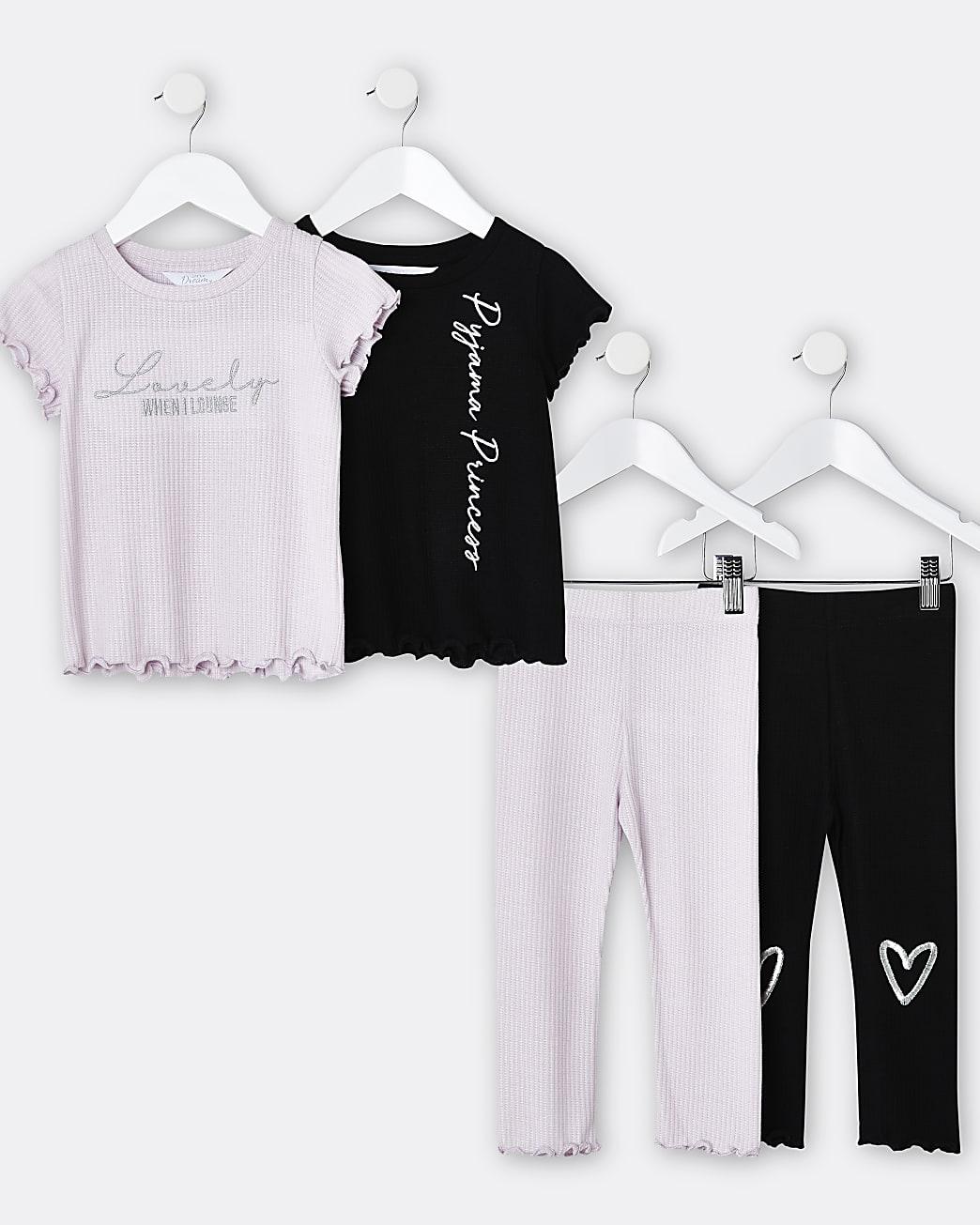 Mini girls purple pyjama 2 pack sets