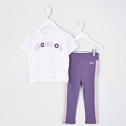 Mini girls purple Reebok t-shirt outfit