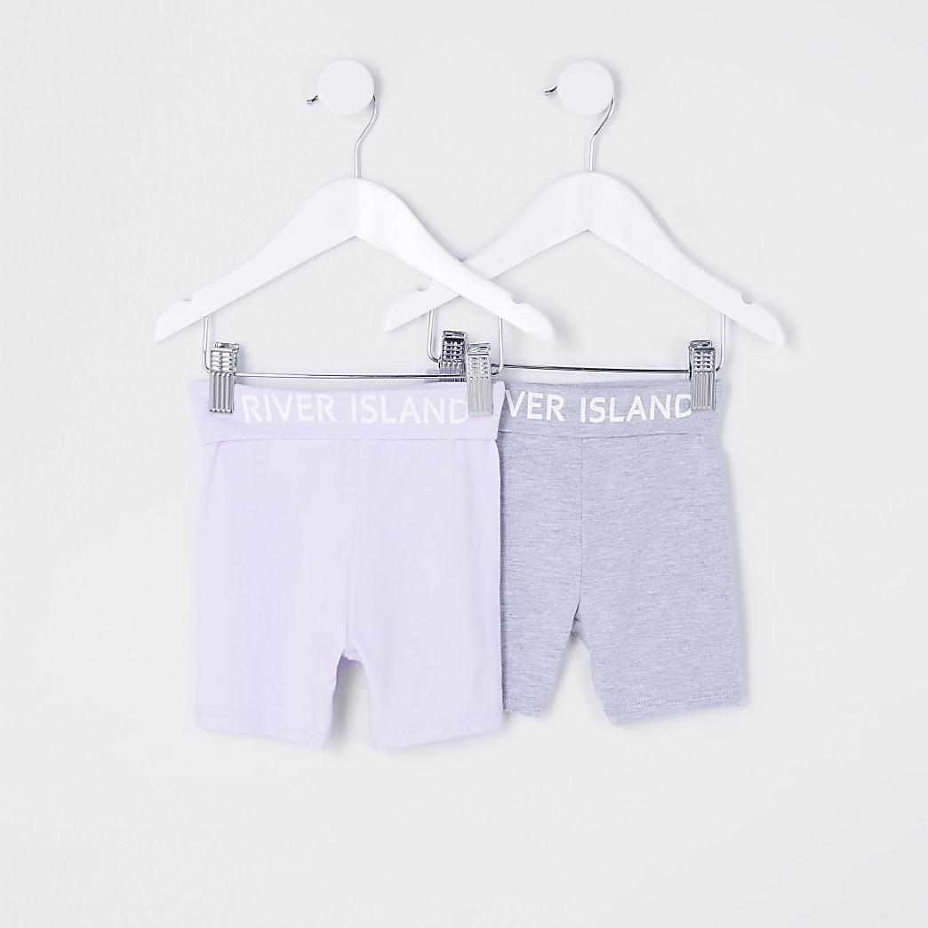 Mini girls purple RI cycling shorts 2 pack