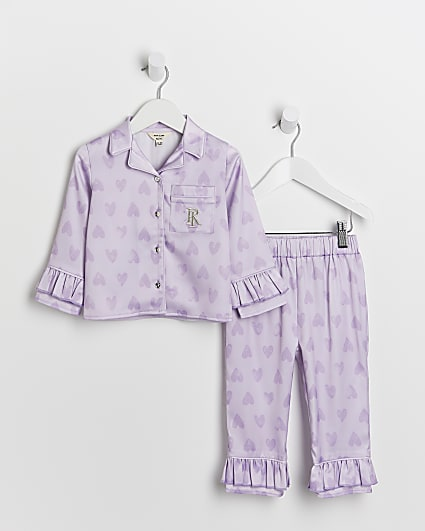 Mini girls purple RI heart 2 piece pyjama set